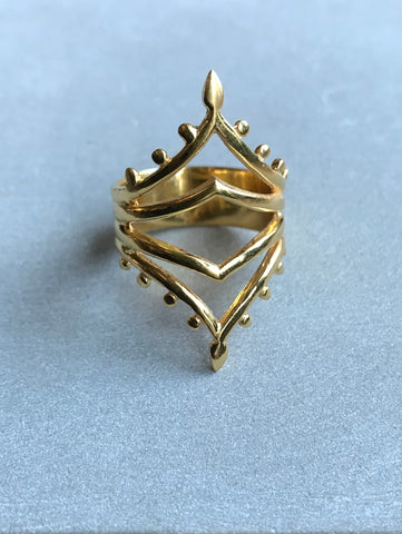 925 Silver Mendi Ring - gold plated