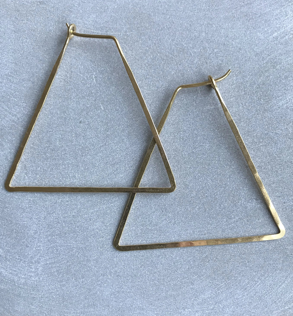 Gold plated 925 Silver Thin earrings - Triangular