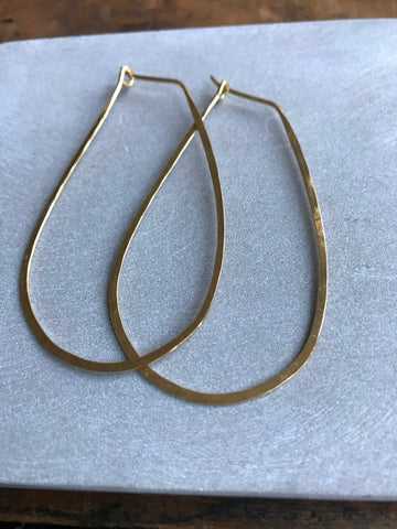 Gold plated 925 Silver Thin earrings - tear drop