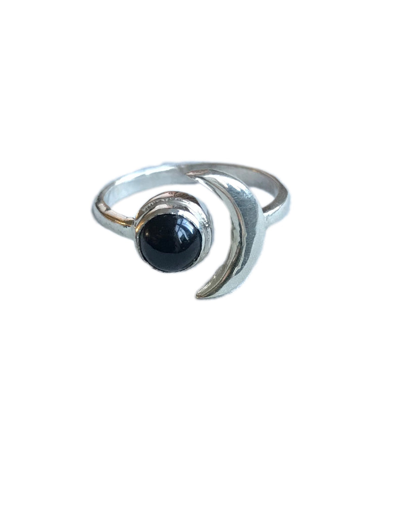 925 Silver moon ring with black onyx