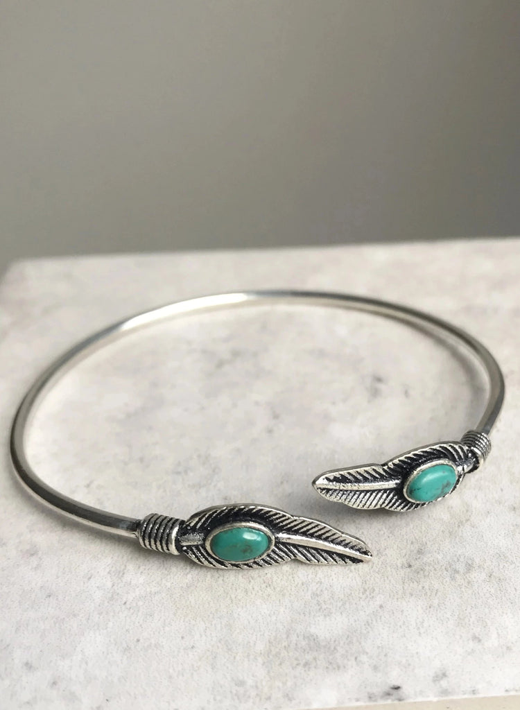 Turquoise feather bangle