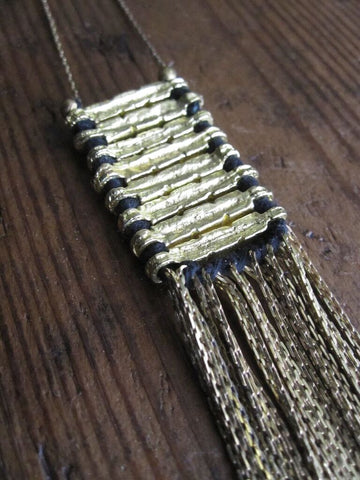 Brass Track necklace with black cotton