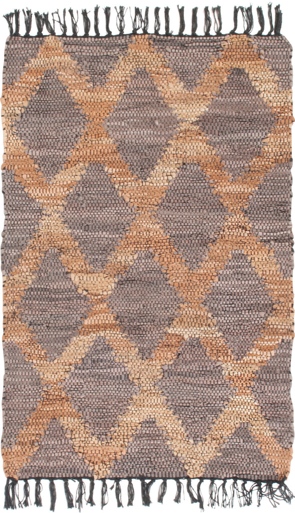 Grey and Beige Recycled Leather Rug
