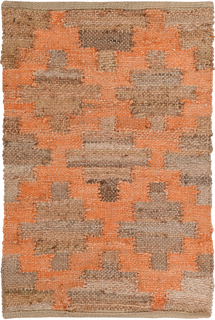 Jute and Chindi Diamond Peach Weave Rug