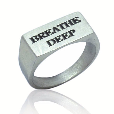 WDTS 925 Silver Flat Front Ring- BREATHE DEEP