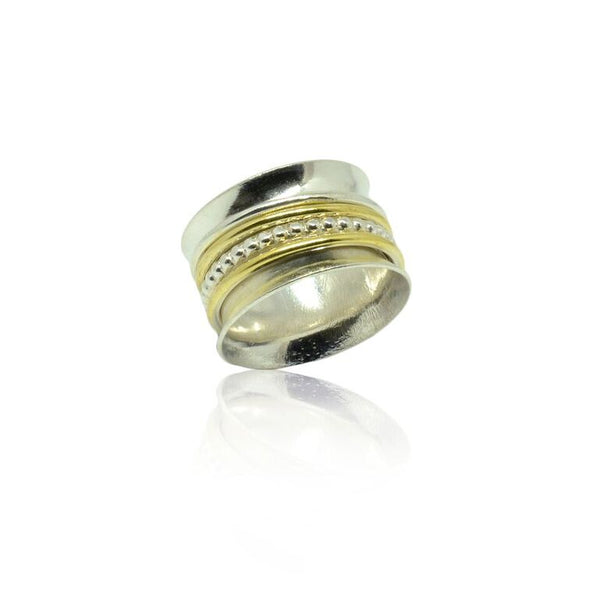 925 Solid Silver Beaded with Gold Plated Stripes Band