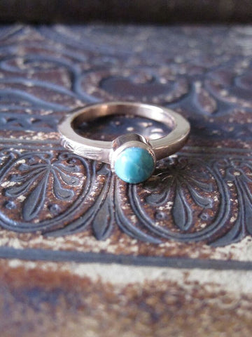 925 Silver Rose Gold Plated Stone Ring- Chrysoprase