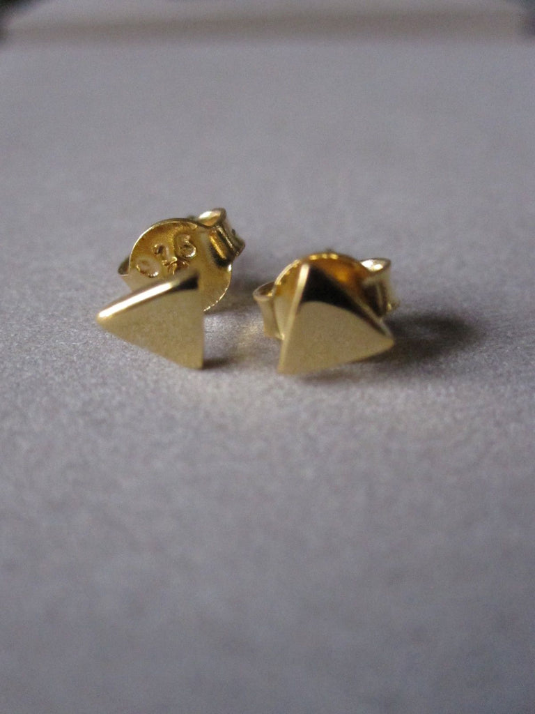 925 Silver Small Triangle Studs - Gold