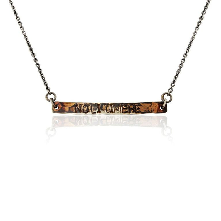 WDTS Sheffield Silver - Hand Hammered Short Necklace - NOLI TIMERE - Mixed Finish