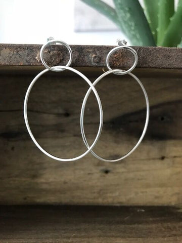925 Silver Double Circle Hoop Earrings