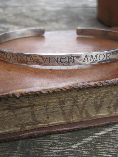 WDTS Sheffield Silver - Hand Hammered Cuff - OMNIA VINCIT AMOR - Mixed Finish