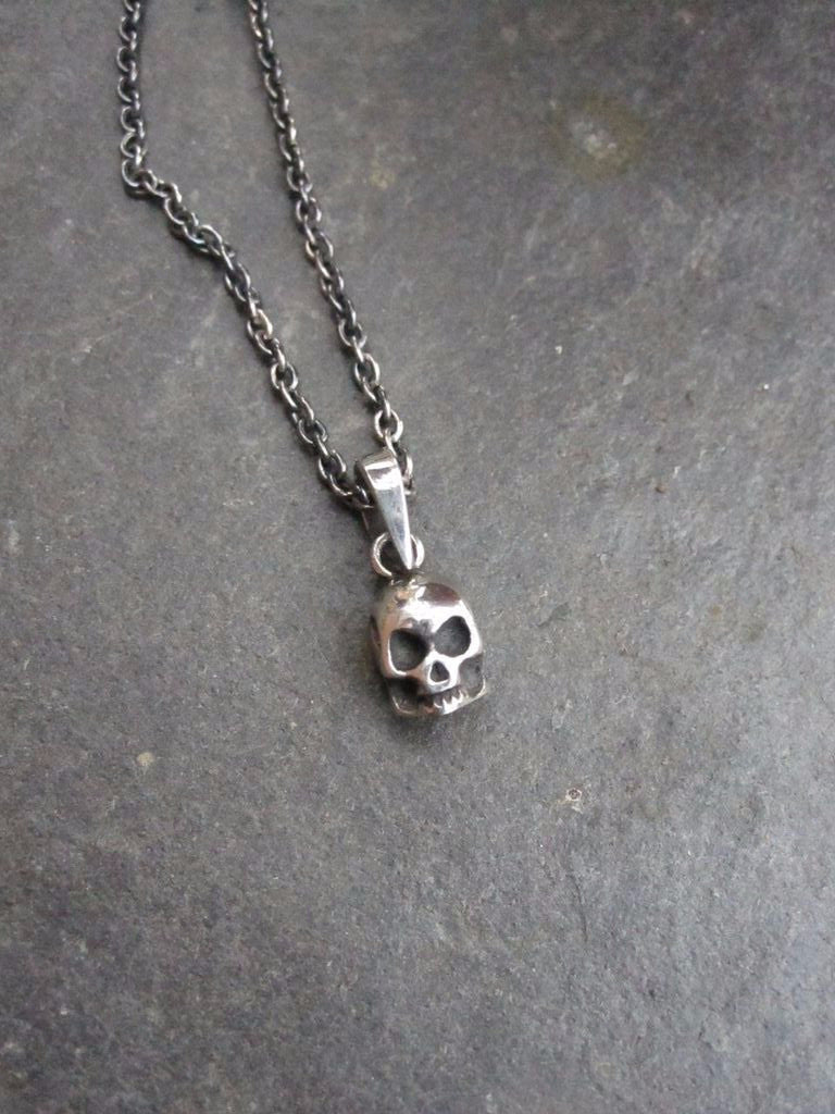 CollardManson 925 Silver Skull Necklace- oxidised