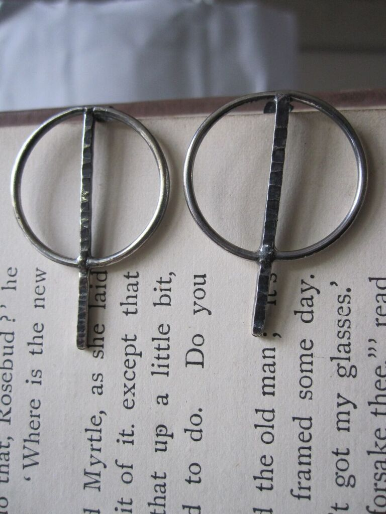 925 Silver Circle Bar Earrings