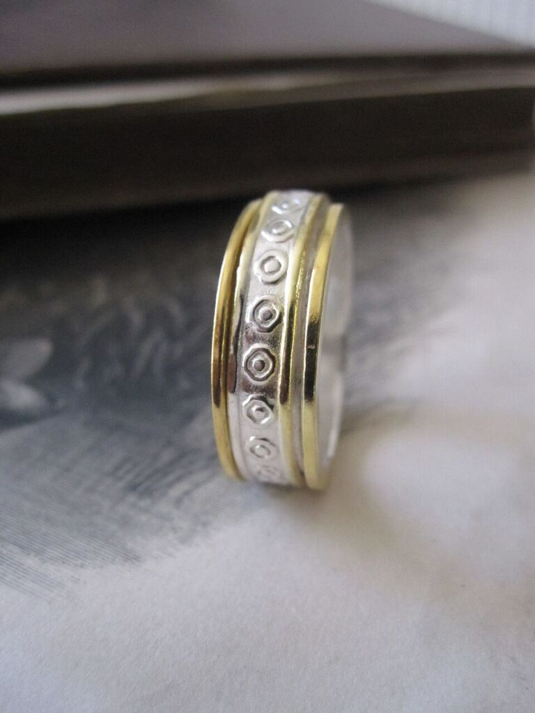 925 Solid Silver and Gold Plated Patterned Band