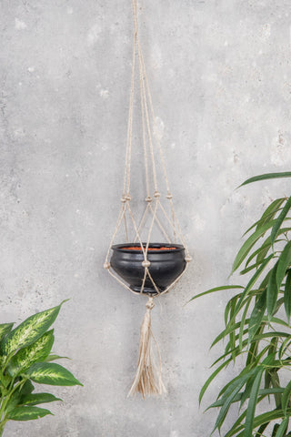 JUTE STRING PLANT HANGER WITH A TERRACOTTA POT