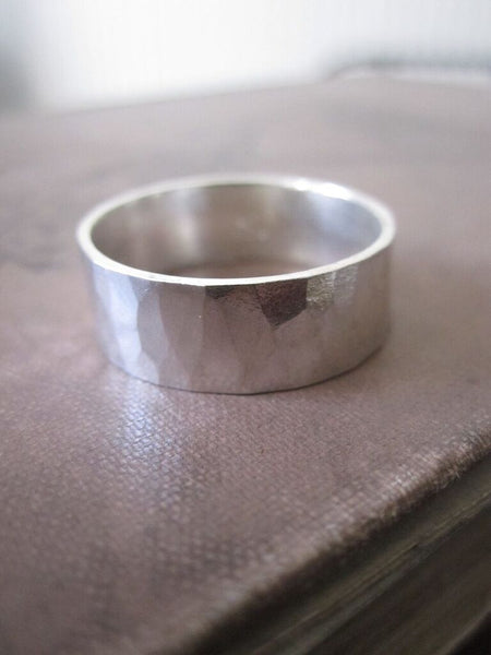 925 SILVER Polished Hammered Band
