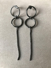 Oxidised Silver Single Ball Chain Earrings