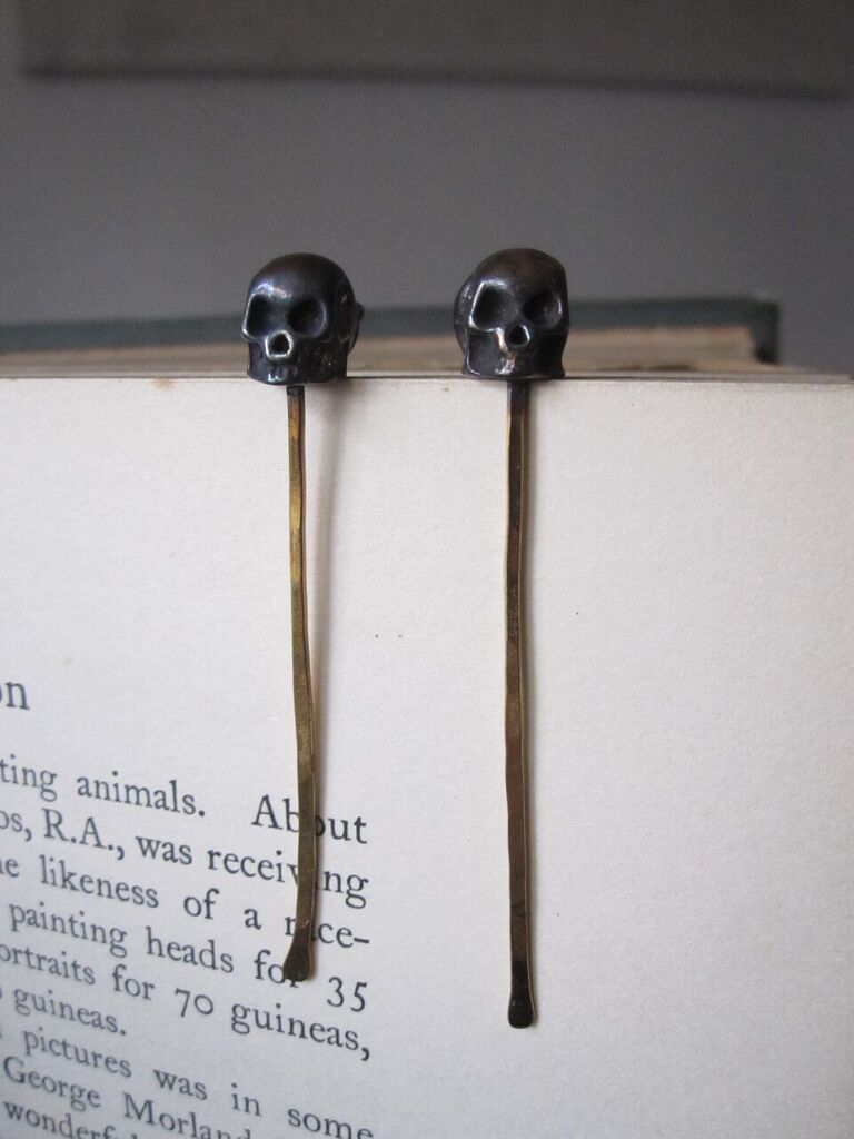 Long Gold Plated 925 Silver Skull Earrings