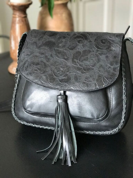 CollardManson Jasmin Bag- Black Floral