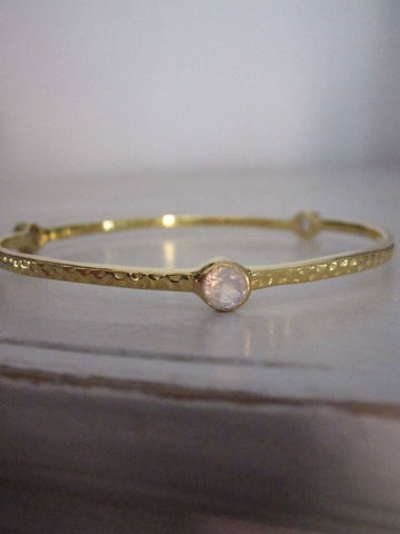 925 silver hammered tri stone bracelet-gold plated