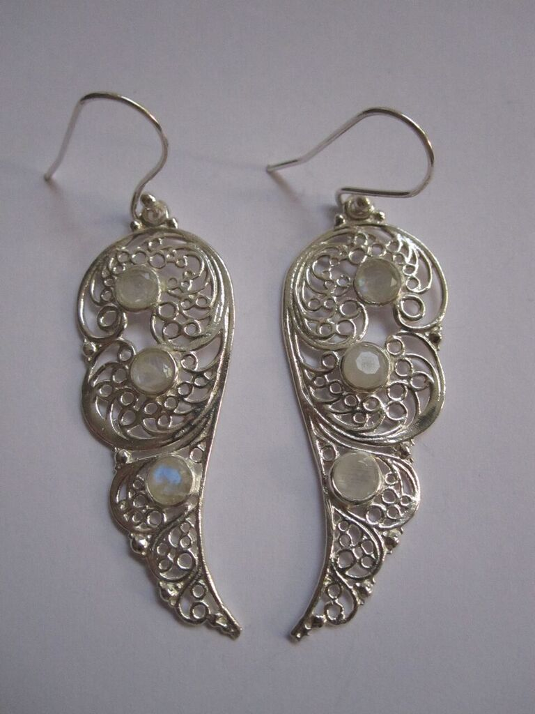 925 Silver Filigree with Moonstone drop Earrings