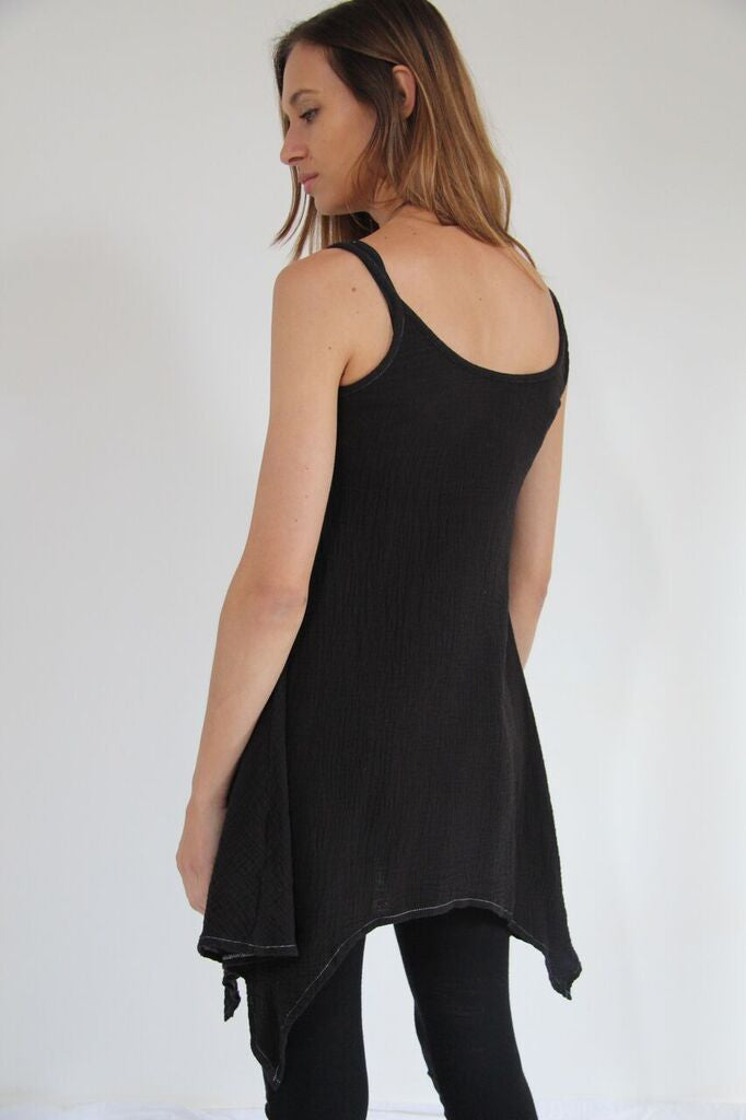 CollardManson Thin Strap Dress- Black Overdye
