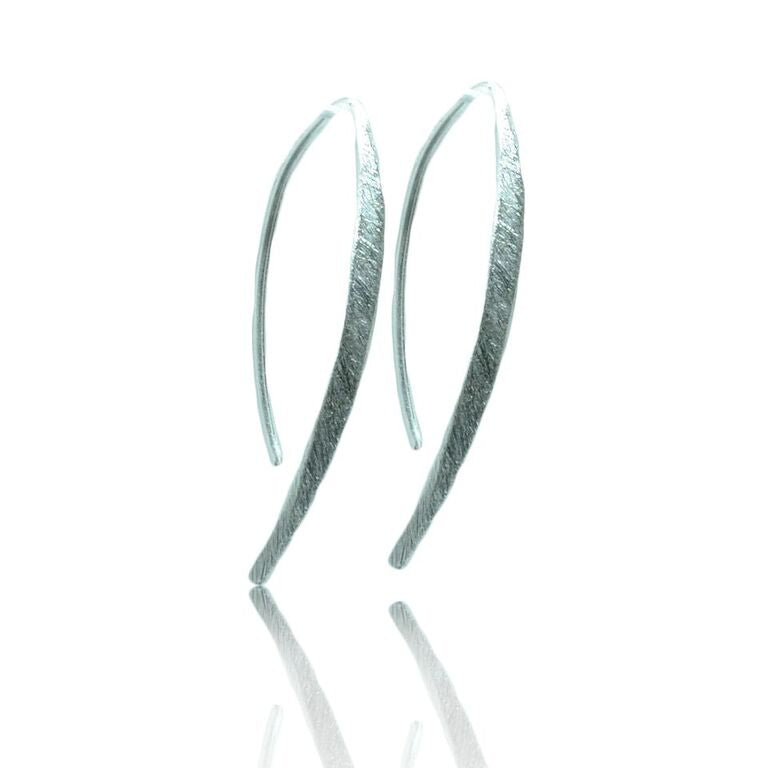 Small Curved Drop Earrings 925 silver