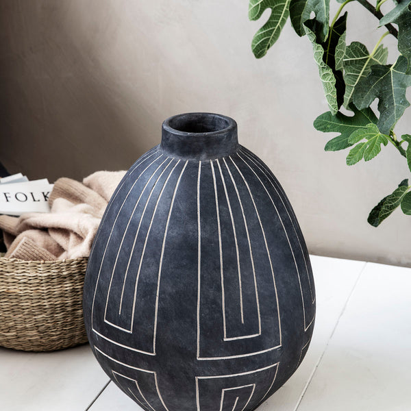 VASE, ALJECO, GREY/BLACK