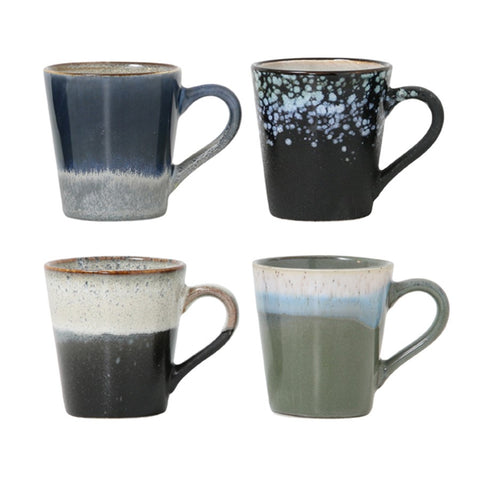 Ceramic espresso 70's Mugs Set of 4