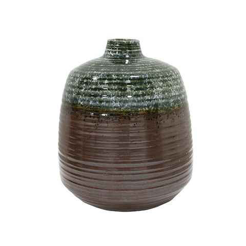 Ceramic Flower Vase: Green/ Brown