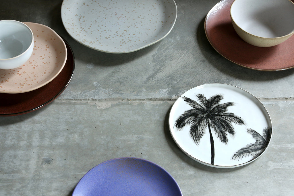 bold & basic ceramics: porcelain dinner plate palms set of 2