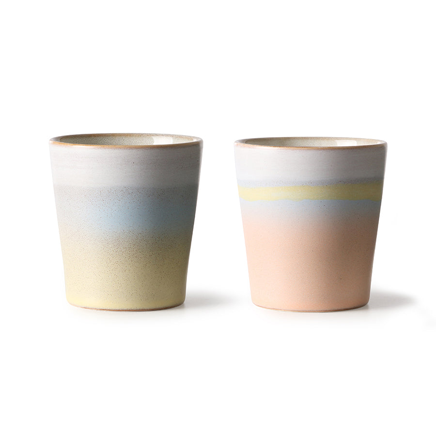ceramic 70's mugs horizon set of 2