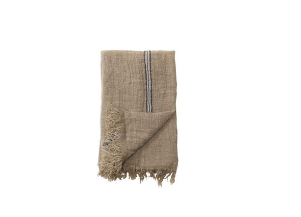 Kalli Linen Throw - Natural & Blue