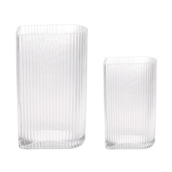 Clear Ribbed Vases - set of 2