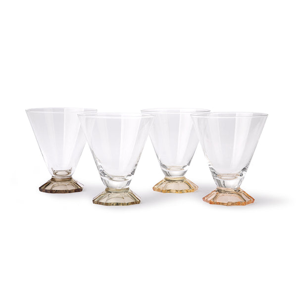 Set of 4 Coloured Cocktail Glasses