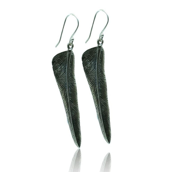 CollardManson 925 Silver Curved Feather Earrings