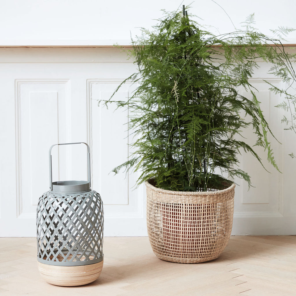 Bamboo LANTERN WITH GLASS BOWL- Grey