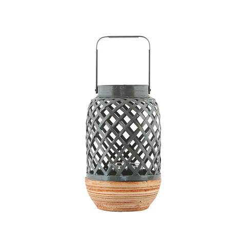 Bamboo LANTERN small WITH GLASS BOWL- Grey