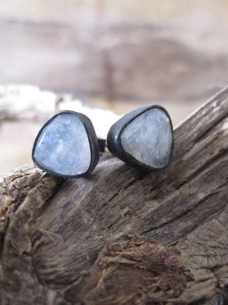 925 Silver Irregular Moonstone Earrings