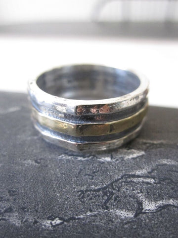 925 Solid Silver and Gold Plated Bands Ring