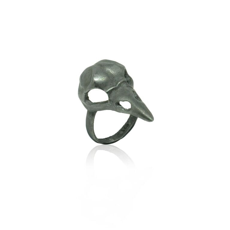 WDTS 925 Silver Bird Skull Ring- Oxidised