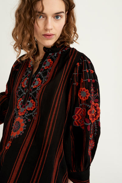 Antik Batik Cami Embroidered Blouse - Black