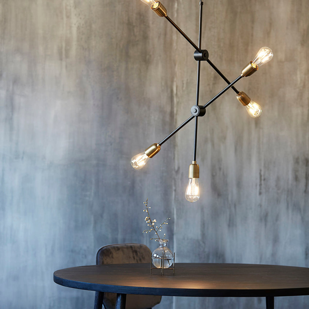Lamp, Molecular, Black/Brass