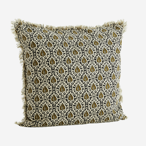 PRINTED CUSHION COVER - black & olive