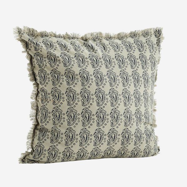 CUSHION COVER W/ FRINGES off white