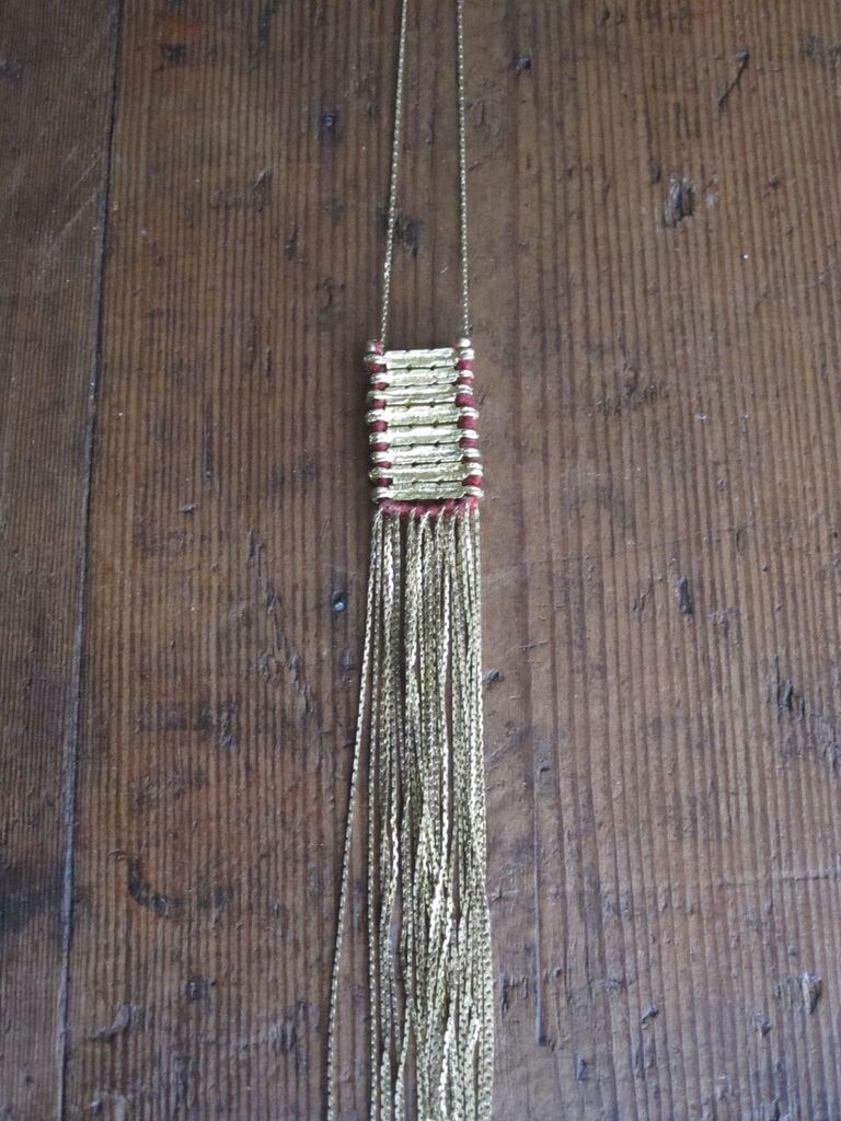 Brass Track necklace with red cotton
