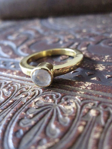 925 Silver Gold Plated Stone Ring-  Moonstone