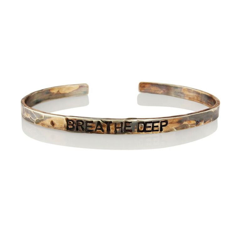 WDTS Sheffield Silver - Hand Hammered Cuff - BREATHE DEEP - Mixed Finish