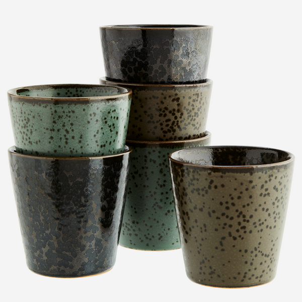 Stoneware cups, set of 6