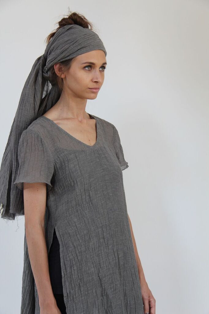 CollardManson Open Side Crinkled Linen Dress- Sage